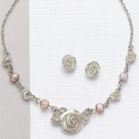 zestaw srebrnej biżuterii - wzór róże z różowymi perłami